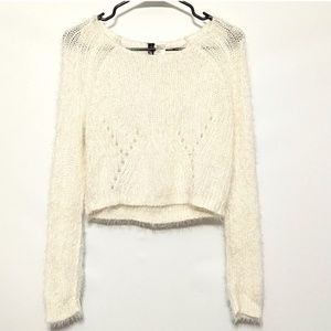 Divided white cropped shag sweater sz M